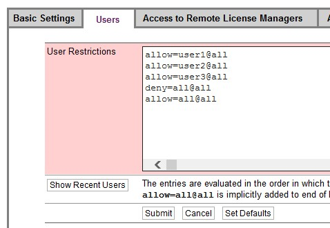 User Restrictions